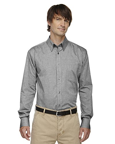 Mens North End (North End Mens Yarn-Dyed Wrinkle Resistant Dobby Shirt (87036) -Black Silk -XL)