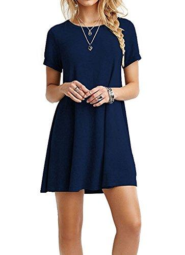 Vestito Linea ad A Donna Casual Mini Vestiti Tinta Unita Abito Senza Maniche Tunica Retro Vintage Abiti Estivi Corti Eleganti – Landove Blu scuro