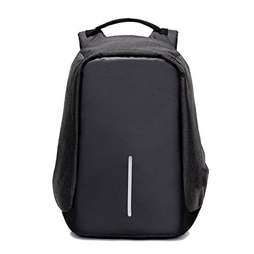 """Fexkean Antifurto Zaino Per Computer Notebook Portatile da 15.6"""" Backpack laptop con porta USB di ricarica e copertura a pioggia Scuola Nero Grigio(Black)"""