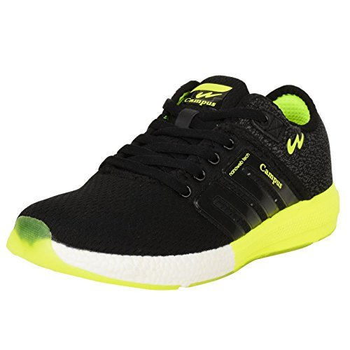 Campus Battle Black and Green Running Shoes (8 UK)