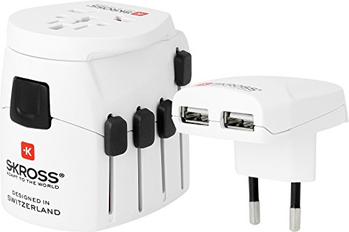SKROSS PRO World + USB - Reiseadapter inklusive USB-Ladeport (2100 mA)