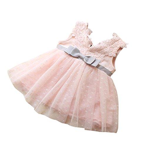Bowknot Prinzessin Kleid Kleinkind Kinder, DoraMe Baby Mädchen Spitze Brautjungfer Festzug Kleid V-Ausschnitt Tutu Tüll Kleid Baumwolle Party Kleid (Rosa, 6 Monate)