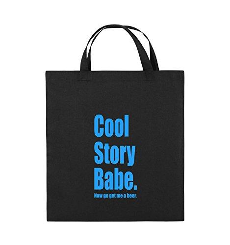 Comedy Bags - Cool Story Babe now get me a beer - Jutebeutel - kurze Henkel - 38x42cm - Farbe: Schwarz / Pink Schwarz / Blau
