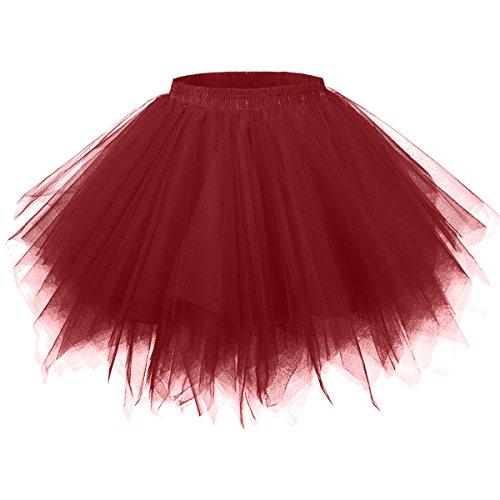GirstunmBrand Damen 50er Vintage Tüllrock Petticoat Mehrfarbig Bubble Tanzkleid Rock Burgund-L/XL