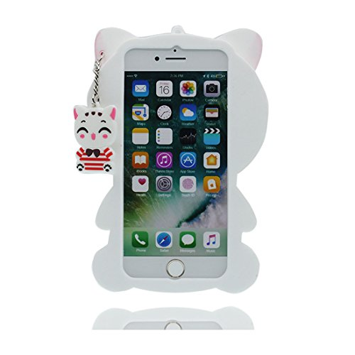 "iPhone 7 Plus Hülle, 3D Cartoon Weiß Katze Cover iPhone 7 Plus handyhülle (5.5 zoll) flexible TPU Shell iPhone 7 Plus case (5.5""), Staub Rutsch kratzfest & Ring Ständer Weiß"