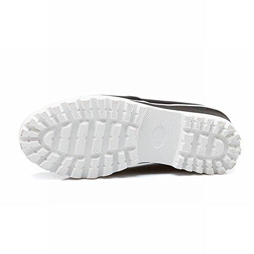 Mee Shoes Damen modern bequem elegant Mischfarbe Geschlossen runde Stoffdruck Plateau Pumps Freizeitschuhe Schwarz(Stoffdruck)