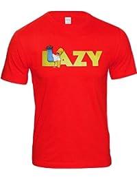 THE SIMPSONS Homer Simpson Comic Herren T-Shirt Gr. M - LAZY - ROT