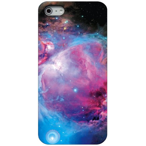 CUSTOM Black Hard Plastic Snap-On Case for Apple iPhone 5 / 5S - Purple Blue Black Orion Nebula