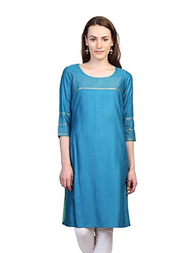 Fabindia Women's Tussar Cotton Zari Stitch Kurta