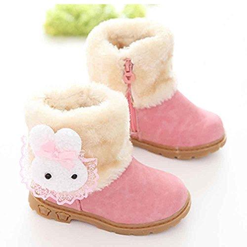 Chaussures souples,Covermason Fille Cute Fashion hiver bébé enfant Style coton Boot bottes de neige chaude (21, rouge) Rose