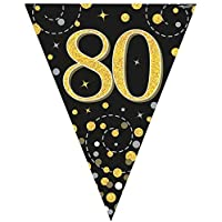 fashioncrazexx 12FT 3.9m Birthday Party Sparkling Ages Bunting Black Gold Fizz Flag Banner Age