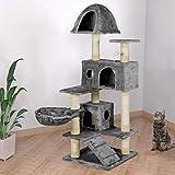 Happypet® Kratzbaum für Katzen 143 cm hoch Dicke Säulen mit Sisal ca. 8,0 cm Höhle Liegemulde Spielmaus Grau