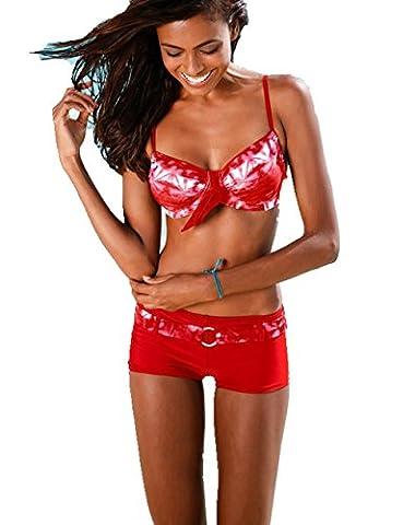 ASSKDAN Femme Bikini 2 Pieces Imprimé Set soutien-gorge à Bretelle Push-up Maillot de bain Shorty (M, Rouge)