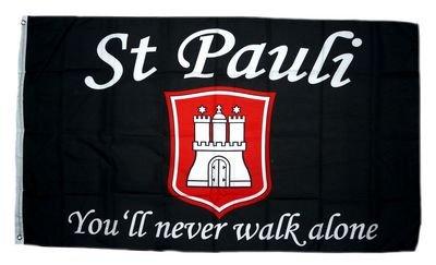 Fahne / Flagge St. Pauli You´ll never walk alone 90 x 150 cm