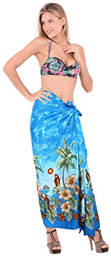 Aloha coprire Hawaiian Resort crociera gonna bikini usura costume da bagno sarong twitter blu