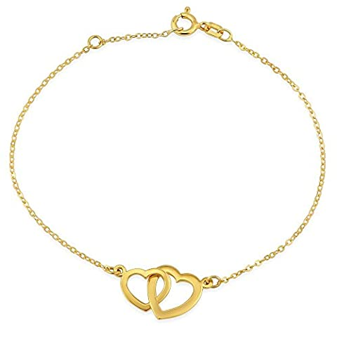 Silver and Gold Plated Bracelet with Two Hearts, Silver