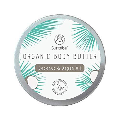 Suntribe Bio Körperbutter KOKOSNUSS & ARGANÖL Body Butter - 100% Bio - 3 Inhaltsstoffe - Natürlicher Kokosduft - Pflegend & Feuchtigkeitsspendend (150ml)