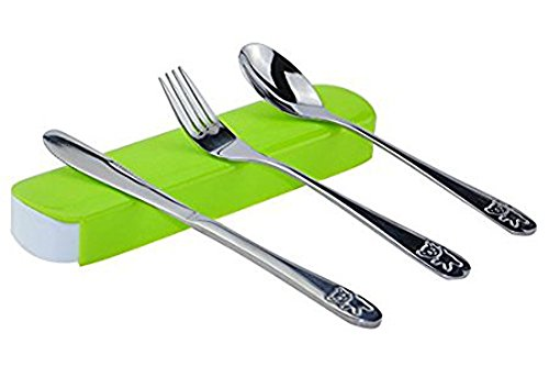 Knife Fork Spoon Set Portable Stainless Steel Reusable Cutlery Travel Tableware Set - 1 Set/ 3 Pcs (Green)