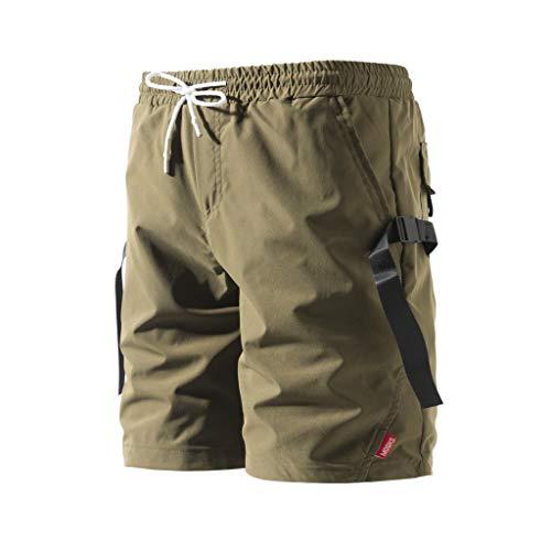 Cargo Shorts Herren Chino Kurze Hose Sommer Bermuda Sport Jogging Training Stretch Shorts Fitness Vintage Regular Fit Sweatpants Baumwolle Qmber Einfarbige Shorts mit Knopfleiste Overall(AG,3XL) -