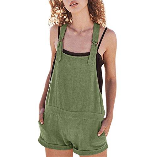Amphia Damen Overall Kurz Elastische Taille Latzhosen Leinen Baumwolle Taschen Strampler Playsuit Shorts Hosen, Grün, L