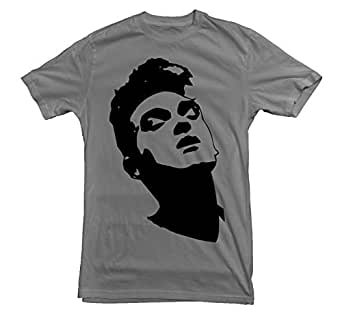 Morrissey T-shirt Legend Moz Autobiography Quiff The Smiths (Small, Grey)