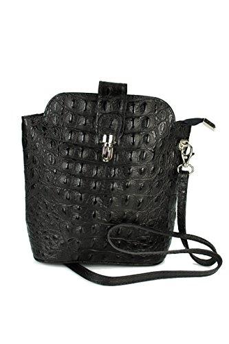 Belli kleine edle ital. Leder Handtasche Umhängetasche Farbauswahl - 18x20x8 cm (B x H x T) (schwarz kroko) -