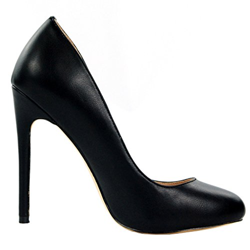 ENMAYER Women PU Materiale Tacchi alti Stiletto Pumps Round Toe Slip-on Office Lady Summer Shoes Nero