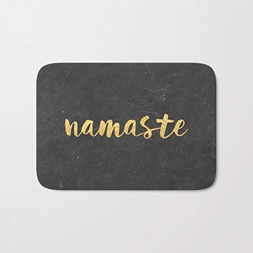 tgyew Cushion Golden Note Namaste In Black Ground Home Decorations Rug Rectangle Size 23.6x15.7,Multi-Function Indoor Durable Non-Slip Doormat -