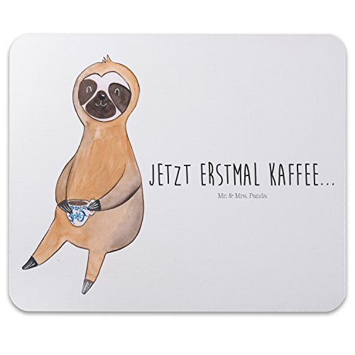 Mr. & Mrs. Panda Mauspad Druck Faultier Kaffee - 100% handmade in Norddeutschland - Faultier, Faultiere, faul, Lieblingstier, Kaffee, erster Kaffee, Morgenmuffel, Frühaufsteher, Kaffeetasse, Genießer Mouse Pad, Mousepad, Computer, PC, Männer, Mauspad, Maus, Geschenk, Druck, Schenken, Motiv, Arbeitszimmer, Arbeit, Büro