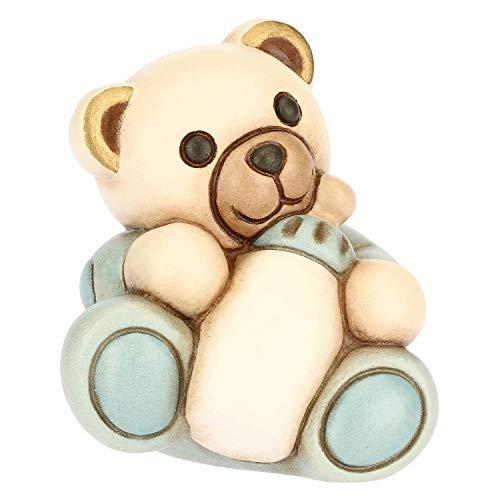 Thun ® - teddy bimbo piccolo con biberon personalizzabile - ceramica - h 6,55 cm - linea i classici