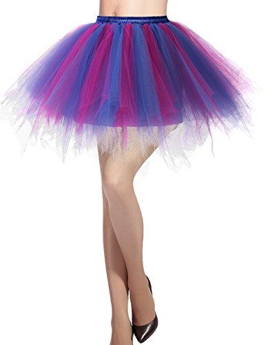 Dresstells Damen Tüllrock 50er Rockabilly Petticoat Tutu Unterrock Kurz Ballett Tanzkleid Ballkleid Abendkleid Gelegenheit Zubehör Royal Blue-Fuschia M