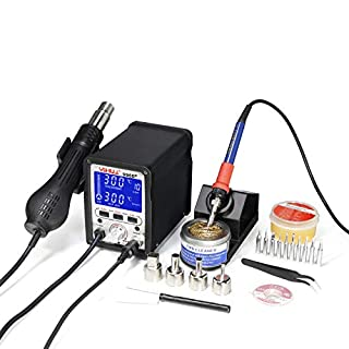 YIHUA 995D+ 2 in 1 HOT AIR REWORK Soldering Iron Station - Multiple Functions UK,11 Tips + 4 nozzles