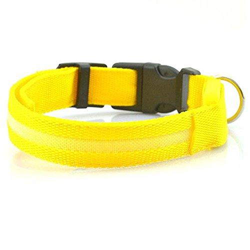 Safeinu lumière LED Pet Pendentif Collier de chien, jaune