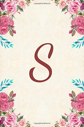 1a93511bb45b49 S: Monogram Journal Notebook Diary For Girls and Women, Pink Floral 6 x 9