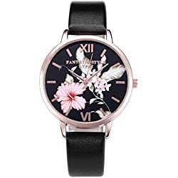 JSDDE Fashion Women Girls Watches Black Dial Pink Flower Rose Gold Case With PU Leather Strap - Black