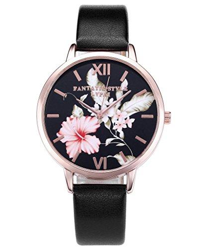 JSDDE Uhren,Vintage Klassische Blumen Damen Armbanduhr Basel-Stil Quarzuhr PU Lederband Rosegold Analog Quarzuhr(Schwarz) - 2