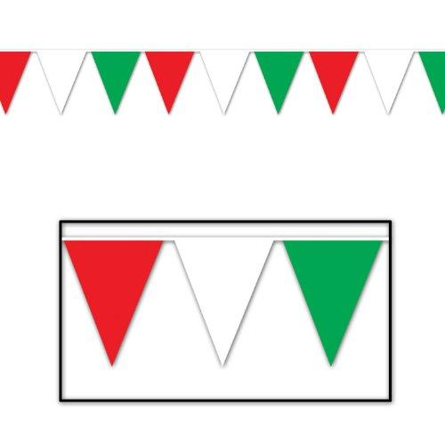 d, White & Green Pennant Banner Party-Zubehör, plastik, Rot/Weiß/Grün ()