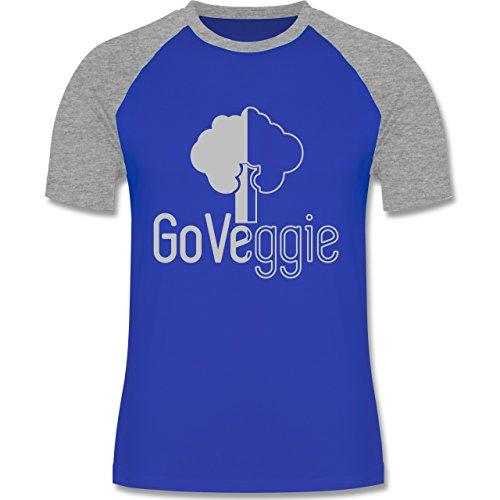 Küche - Go veggie Vegetarier - zweifarbiges Baseballshirt für Männer Royalblau/Grau meliert
