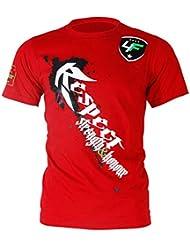 4Fighter Camiseta en Rojo con Respeto impresión Blanco/Fuerza y Honor - Fuerza y Honor