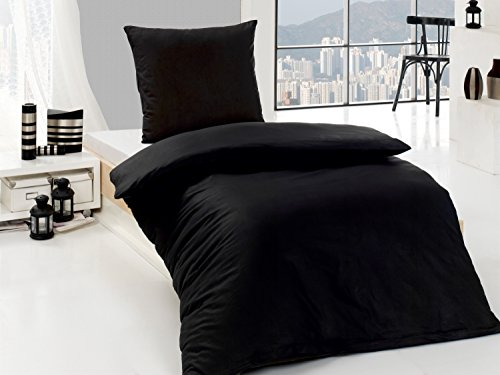 4-Teilige hochwertige Renforcé-Bettwäsche UNI-WENDE in schwarz einfarbig 2x 135x200 Bettbezug + 2x 80x80 Kissenbezug , 100% Baumwolle (Schwarz einfarbig)