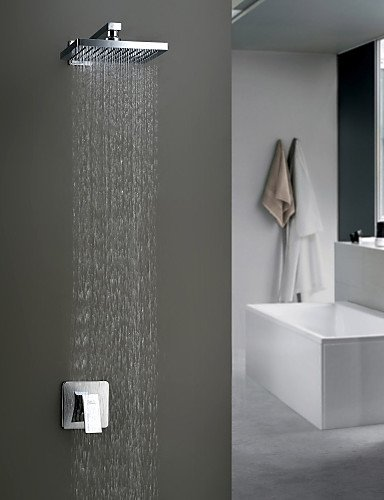 AI LI WEI Bathroom Furniture - Chrome Wall Mount Rain Single Handle Shower Faucet