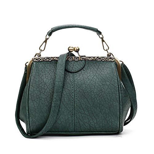 AHDA Korean Fashion Damen Tasche Retro PU Kleine Tasche Clip Schnalle Weibliche Tasche Schultertasche Umhängetasche,E