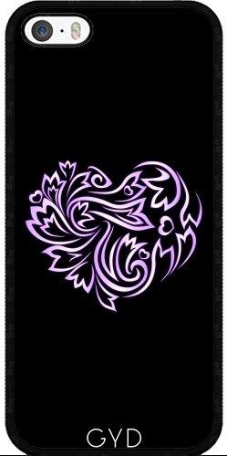 Coque pour Iphone 6 Plus (5,5'') - Pourpre Coeur Floral Noir by Nina Baydur Silicone