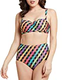 Blooming Jelly Women's High Waist Bikini Set Tartan Designed Swimwear Swimsuit for Ladies