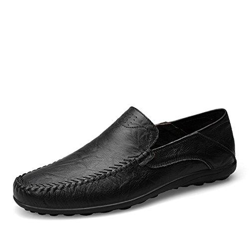 Uomo mocassini classic affari scarpa casual antiscivolo walking fatte a mano scarpe,nero 43 eu