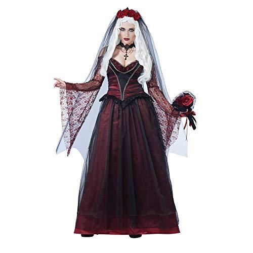 ZYJT Halloween Dame Sexy Erwachsene Halloween Scary Kostüm Party Braut Roter Spitze Dress Up Kostüm Party Dekoration (Color : Black, Size : One - Dress Up Braut Kostüm