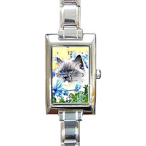 Gato, gato con brillantes ojos azules en una mujer, niñas rectangular reloj.. Think pequeña muñeca