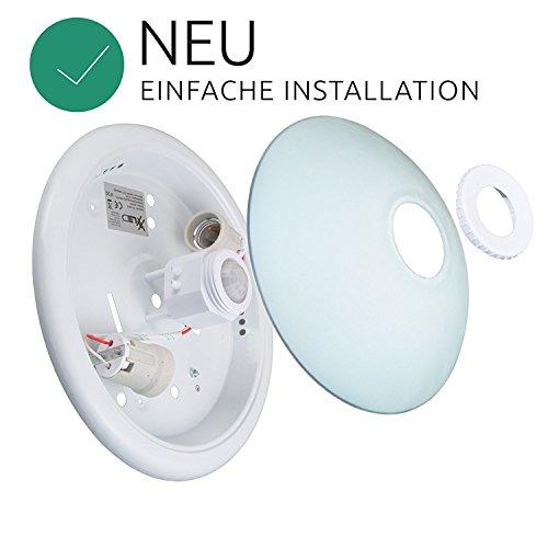 Deckenleuchte Deckenlampe mit Bewegungsmelder -*SET* inklusive 2x 9W Warmweiss 230V -OPALGLAS 18W[Energieklasse A+], Farbe:Warmweiss