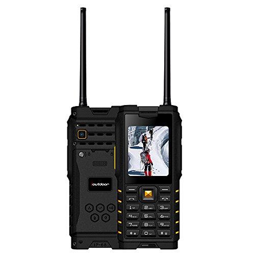 iOutdoor T2 Outdoor Handy Ohne Vertrag + 2-Wege Funk Walkie Talkie 2 in 1, mit Radio MP3 BT Kamera Taschenlampe Dual SIM IP68 Wasserdicht
