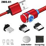 Magnétique Câble USB Chargeur avec LED Micro USB Type C Light Câble Chargeur Rapide/NO Synchro-3 en 1 Nylon Tressé Câble Chargeur pour Sam Sung,Nexus,Oneplus,Sony-Magnetic Charging Cable